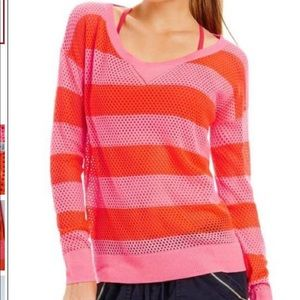Lorna Jane Mesh Knit Pink Orange Long Sleeve Top M